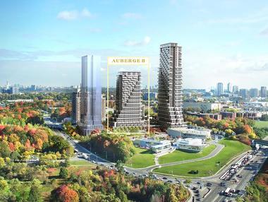 加拿大多伦多-Leslie & Eglinton 东北角Chateau Auberge Condos,门口LRT轻轨2020年通车