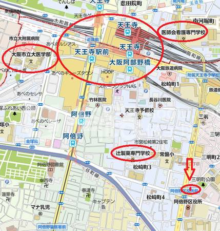 JapanOsaka-School District, 15 minutes walk from Tennoji, the bustling commercial district of Osaka
