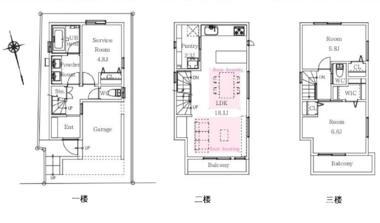 日本东京-东京核心区新宿3层楼全新一户建